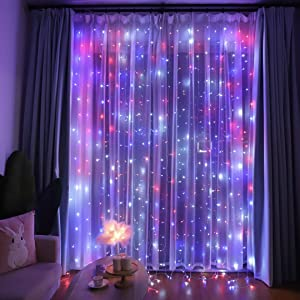 red white and blue curtain lights