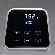 close-up image of the Perfecta sous vide cooker's touch control display