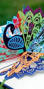 Peacock Bird Pop Up Card