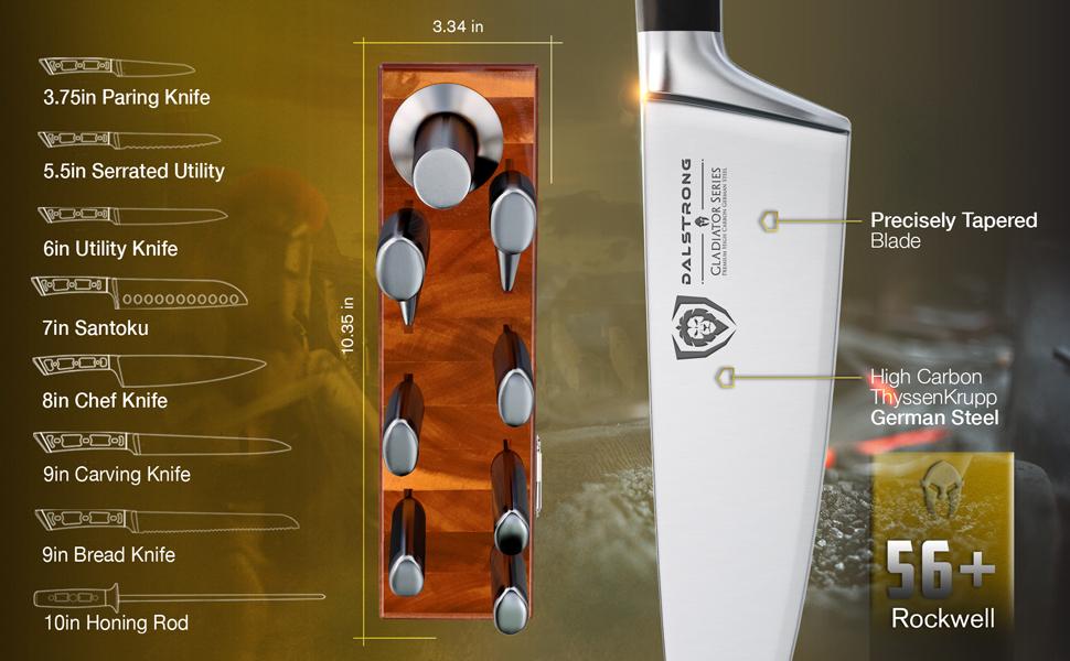 dalstrong gladiator series 8 piece block set acacia wood high carbon german steel pakkawood handle