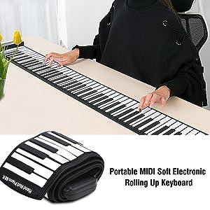 Dilwe Roll Up Piano, Teclado Electrónico Portátil de 88 Teclas Rolling Up Rechargeable Piano