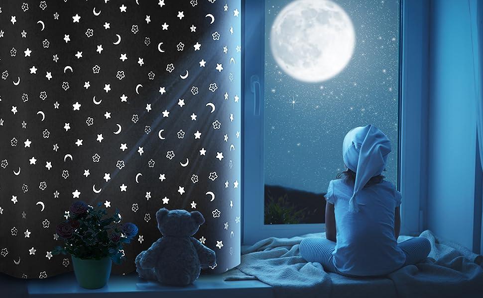 kids blackout curtains room darkening thermal insulated window drapes bedroom nursery playroom stars