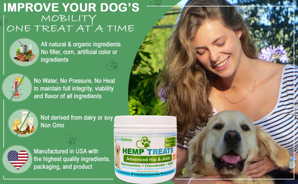 hip and joint large dog natural msm turmeric arthritis pain relief comfort hemp senior dog mature