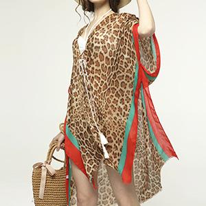 Women's Leopard Beach Cover Up Kimono