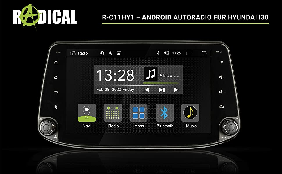 Radical R C11hy1 Android Car Radio For Hyundai I30 With Dab Usb Bluetooth Wifi Wifi 9 Inch Touchscreen App Radio With Open Android 9 0 Os Expandable For Navigation Navigation Car Hifi