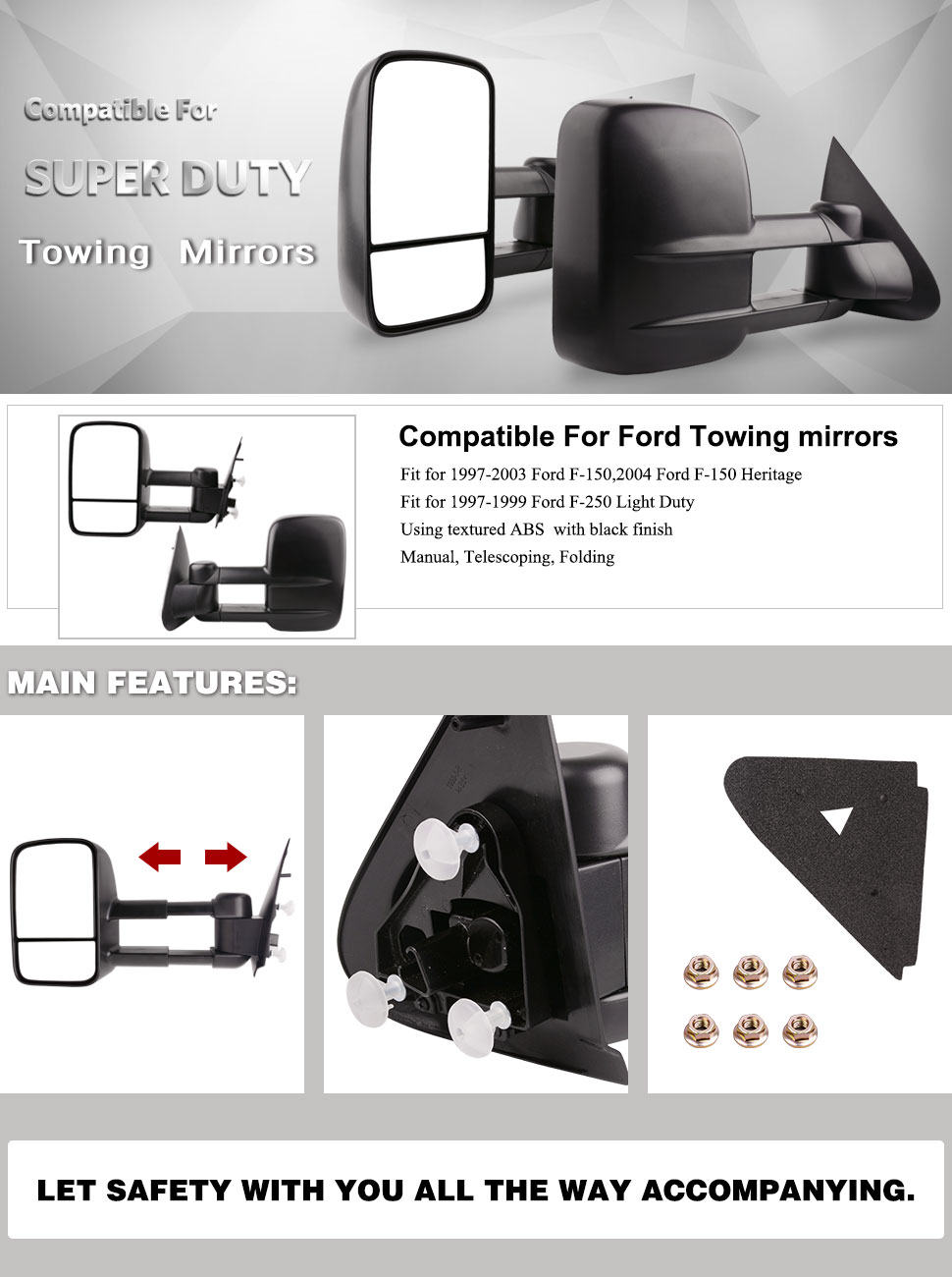 YITAMOTOR Towing Mirrors compatible for Ford 1997-2003 Ford F-150 ...