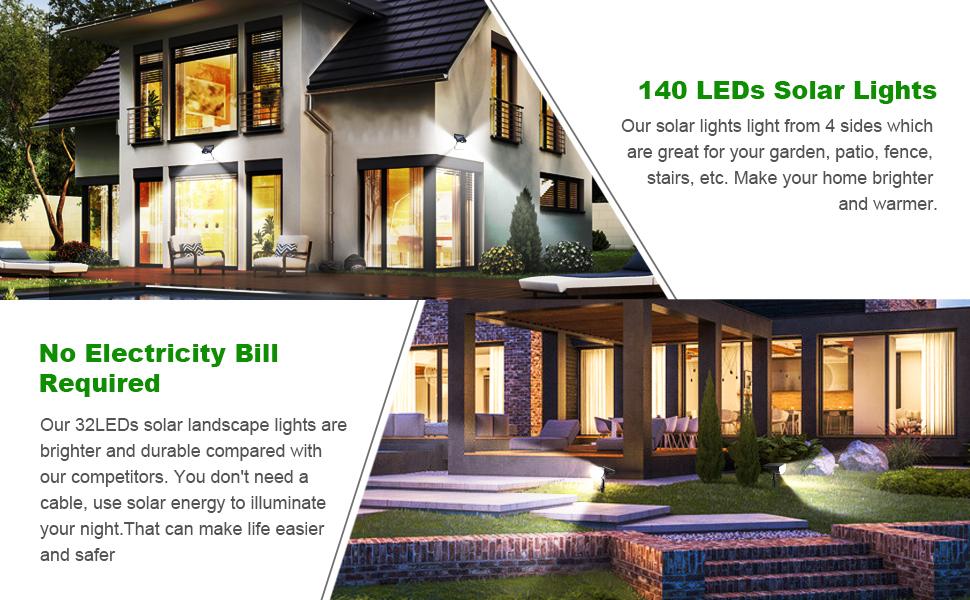 140 leds Solar Lights Outdoor and 32leds Solar Lights