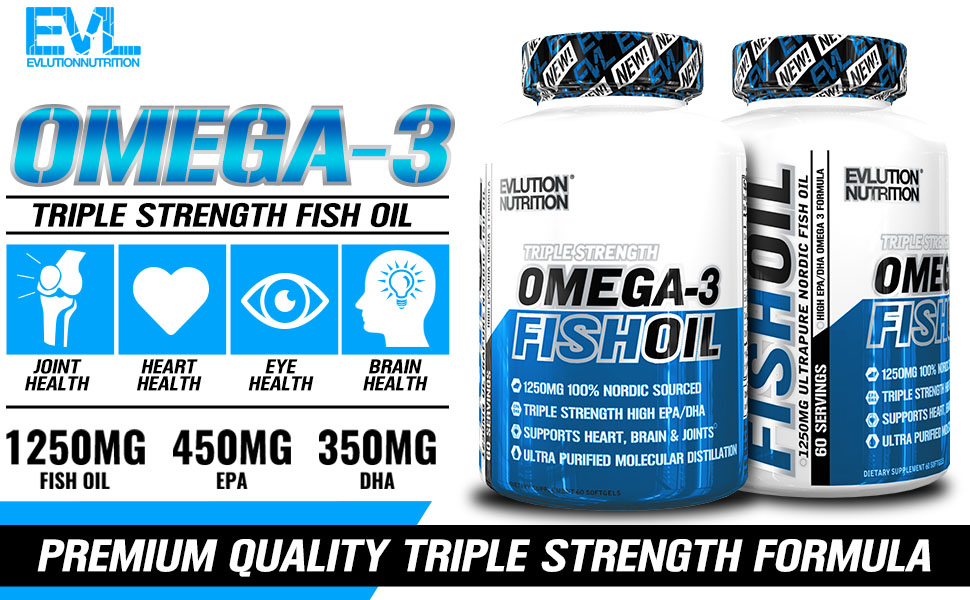 Amazon.com: Evlution Nutrition Omega 3 Fish Oil 1250mg, HIGH EPA 450mg, DHA  300mg Triple Strength, Capsules (60 Servings): Health & Personal Care