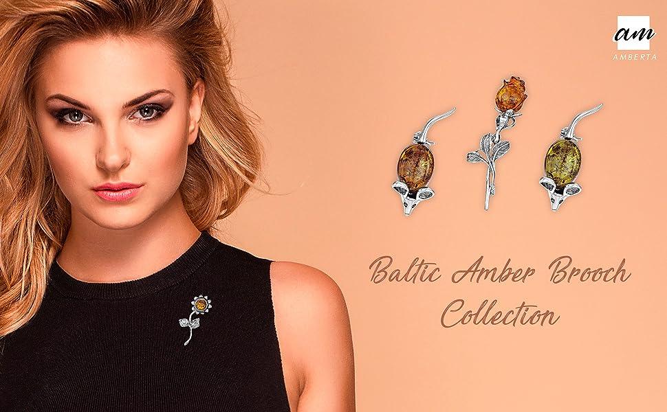 Argento sterling Ambra 925 con autentica amberta baltica - Spilla / spilla da topo per donna