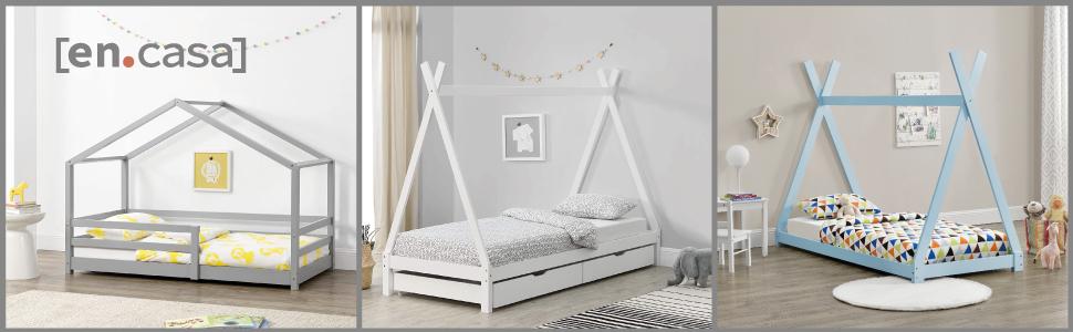 Cama para niños de Madera Pino 70 x 140cm o 80 x 160cm Cama Infantil Forma de casa Casita Blanco o Pino Natural (Blanco, 90x200cm)