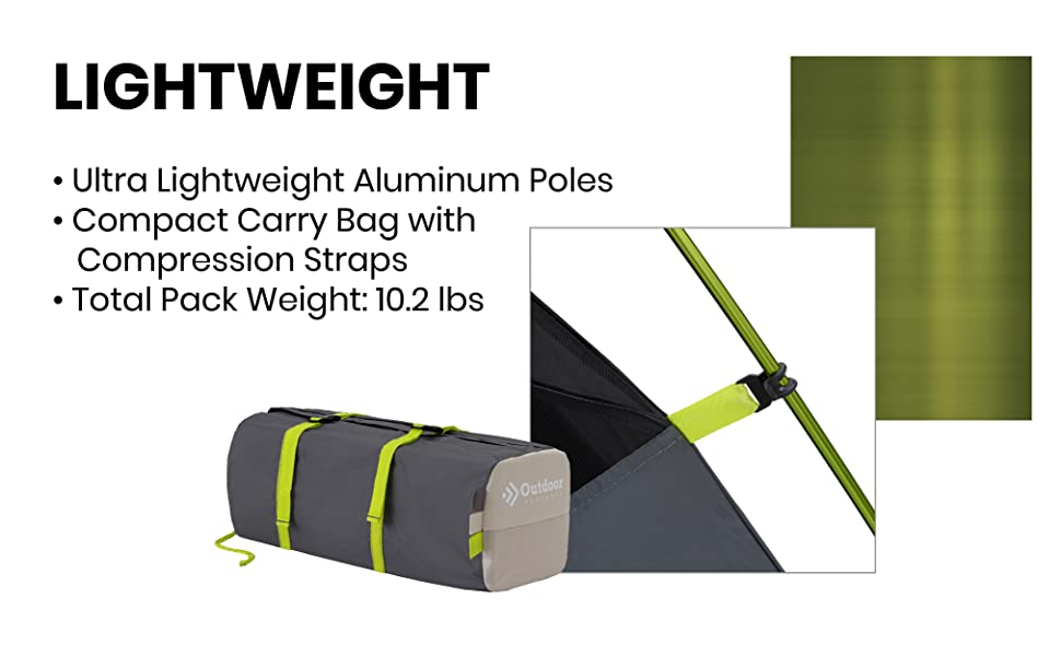 Lightweight compact backpacking small size tent light poles easy setup compression tent light pack