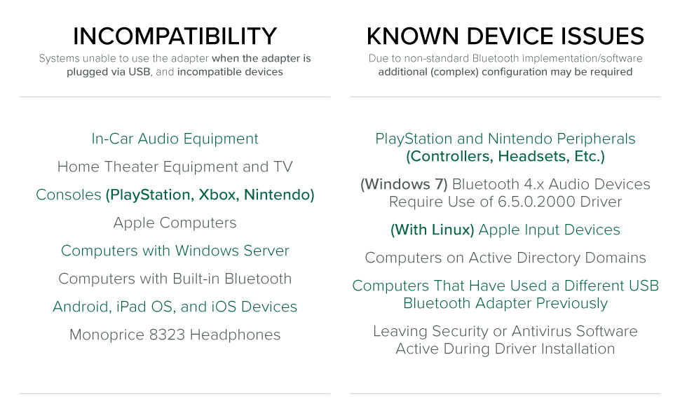 Device and host compatibility overview