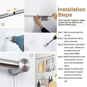 Kitchen hanger 22 inch Utensil Racks Kitchen hooks wall pot rack Stainless Steel