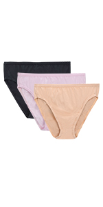 WingsLove 3 Pack Women's Comfort Soft Cotton Plus Size Underwear High-Cut Brief Panty