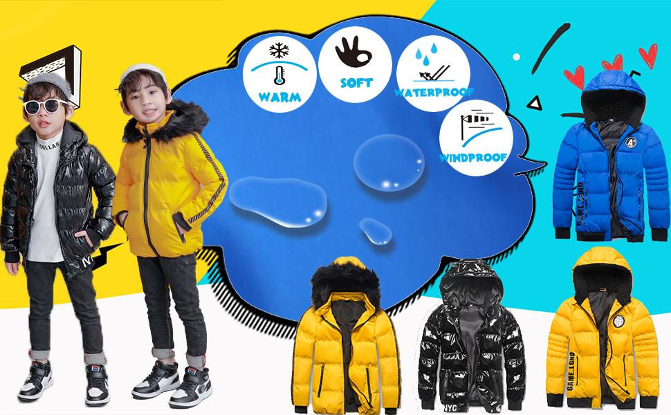 waterproof winter  warm puffer jacket coat for boy