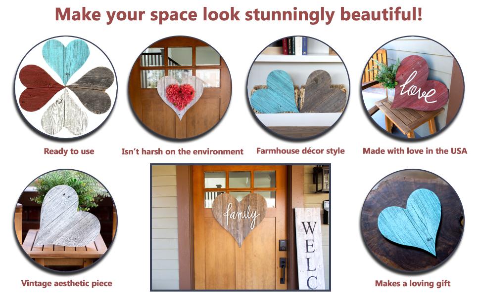 BarnwoodUSA Rustic Wooden Heart Decor Features