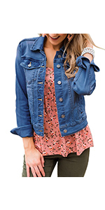LookbookStore Womens Basic Long Sleeves Button Down Fitted Denim Jean Jackets