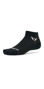 Swiftwick Performance One, Black Socks, ankle socks, running socks, golfing socks, black ankle socks