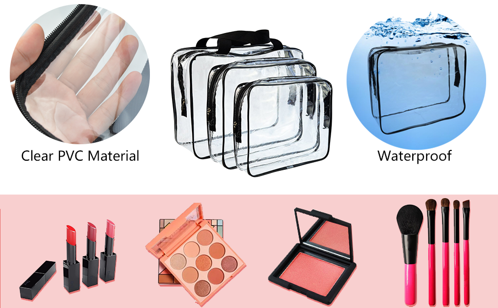 Clear PVC Material, Waterproof Toiletry Carry Pouch
