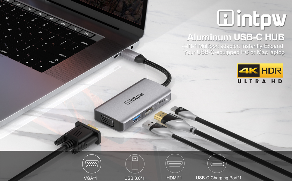 Intpw 4 in 1 USB C HDMI VGA Adapter with dual video output