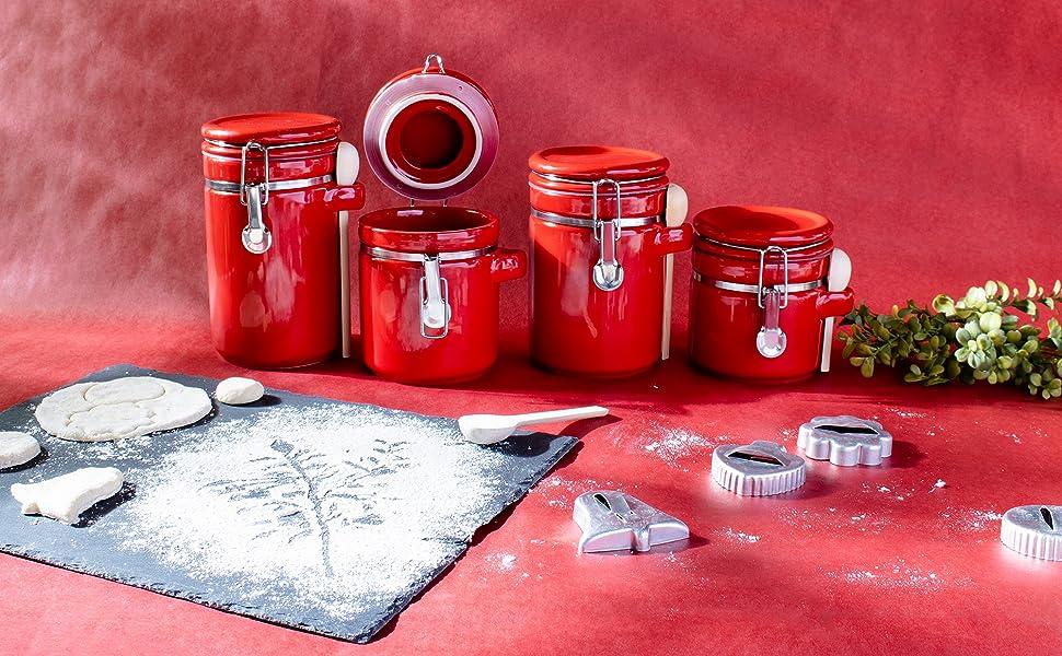 food storage canister, tea coffee sugar canisters, glass storage jars, tea coffee sugar, white tea