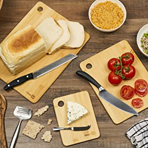 chopping board bamboo wood strong knife resistant bread vegetables