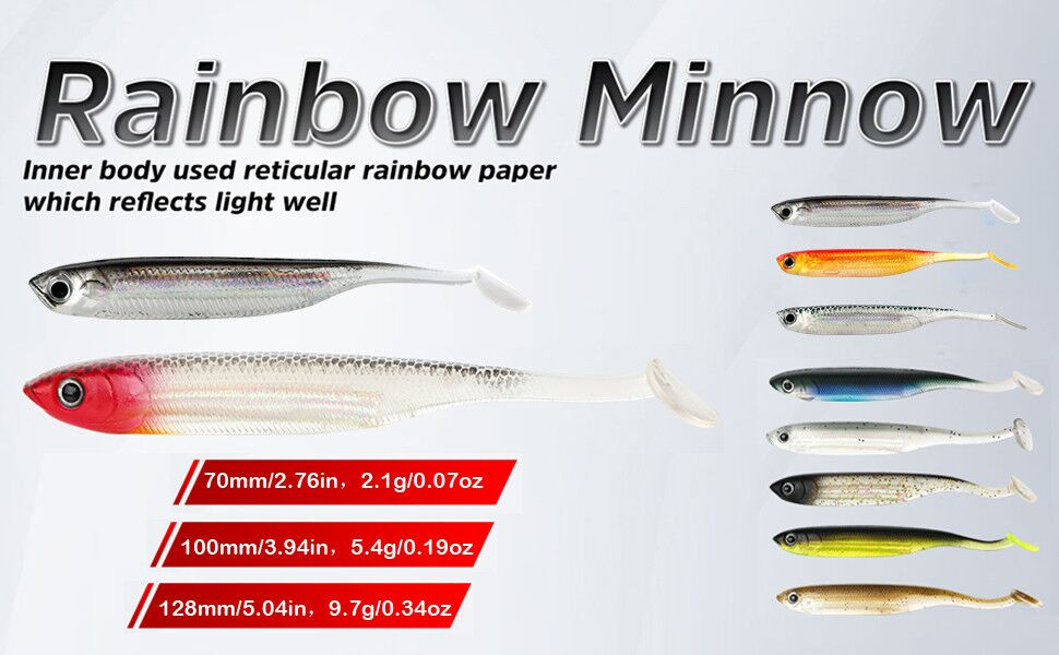 6 Handmade Fishing Bait Fluo Citro-Red with 3D Eyes