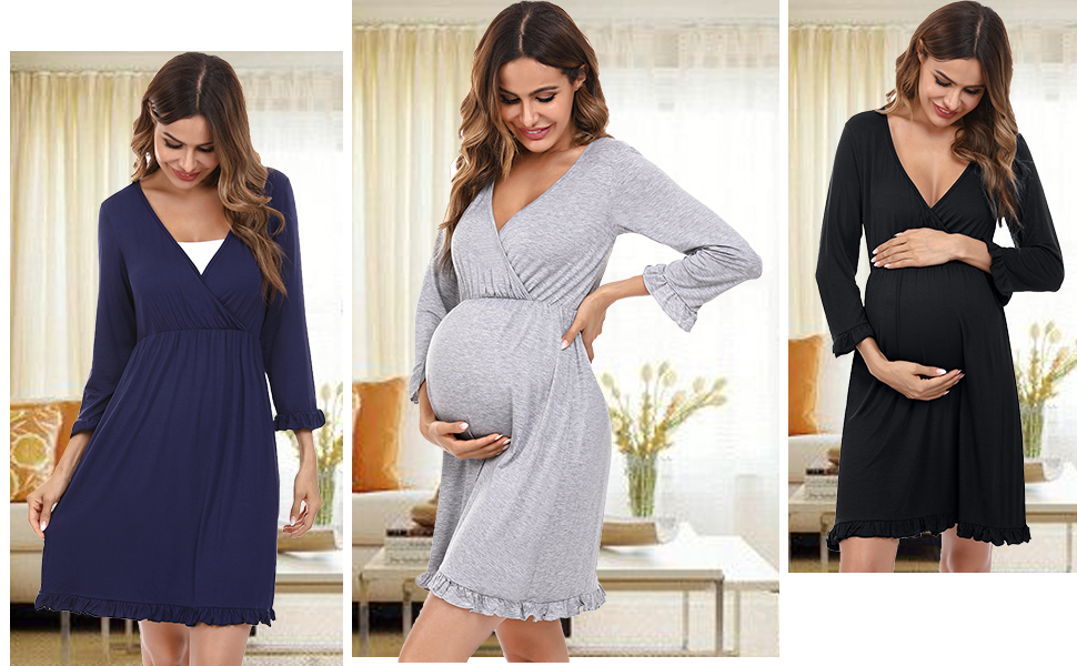 Women Nursing Nightgown Long Sleeve Pleated Breastfeeding Sleep Dress