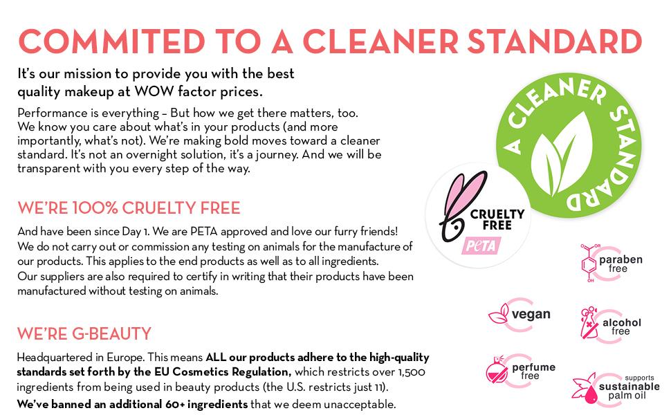 clean beauty cruelty free makeup vegan paraben free alcohol free sustainable gluten peta oil free