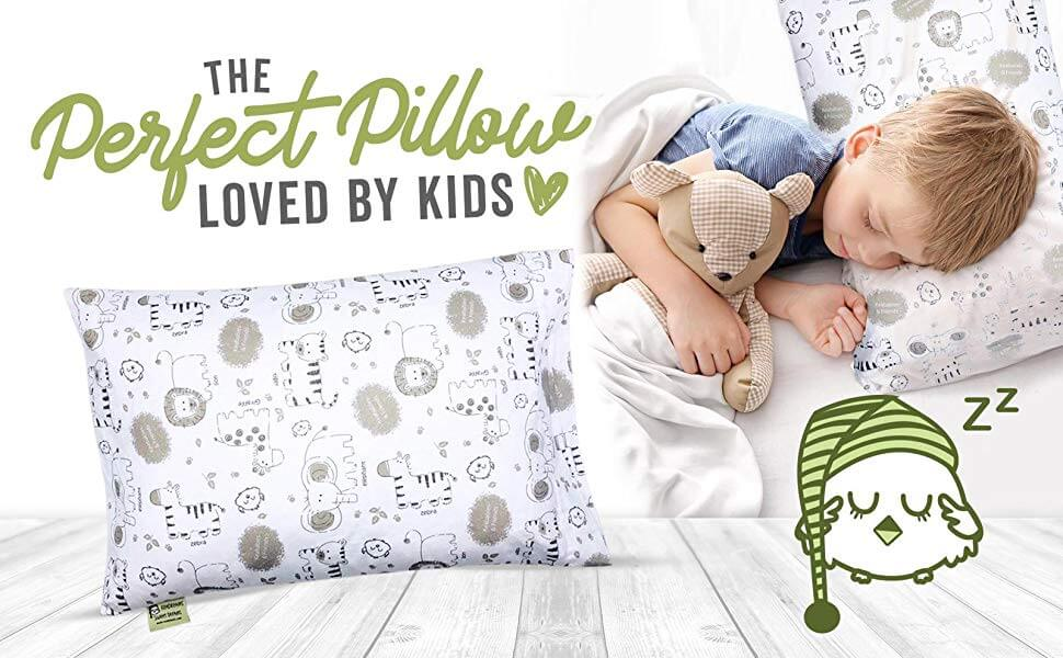 Toddler Pillow With Pillowcase - Soft Organic Cotton Baby Pillows For Sleeping - Perfect For Travel