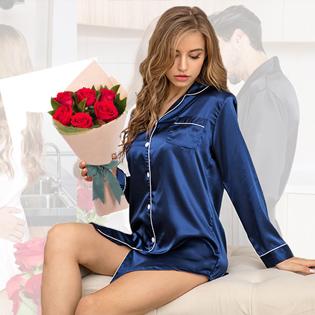 women satin sleepshirt