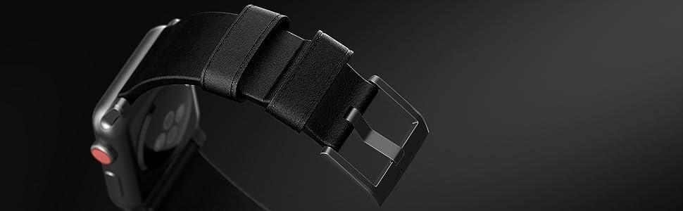 Nomad Modern Strap for Apple Watch 44mm 42mm Black Horween Leather Black Hardware