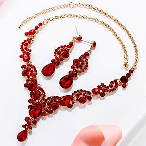 red gala prom jewelry set