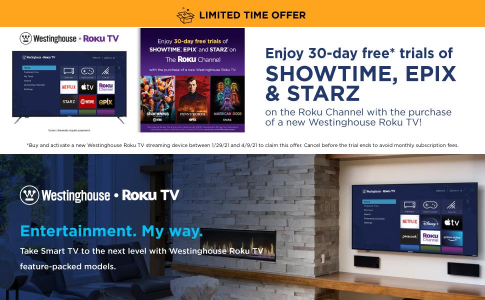 Westinghouse Roku TV Smart Streaming Epix Showtime Starz