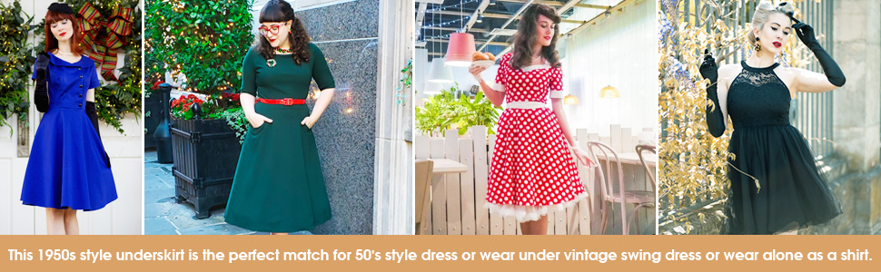 retro style dresses with underskirt