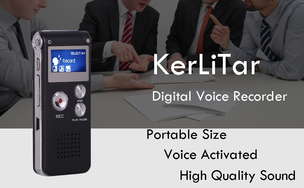 KDRose Digital Voice Recorder Voice Activated for Lectures,Meetings/&Class,Portable 8GB Digital Activate Audio Tape Recording Device with Double Sensitive Microphone/&MP3 Playback