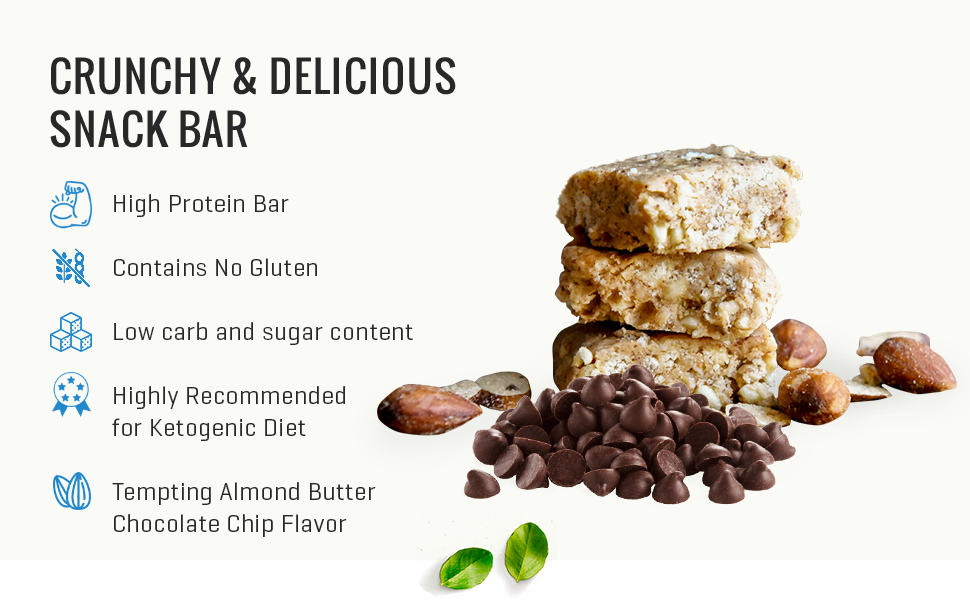 Keto Krisp Protein Snack Bars - Low-Carb, Low-Sugar - (12 Pack, Almond Butter Chocolate Chip)