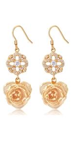 Blue Rose Earrings Jewelry Dangler Eardrop Studs