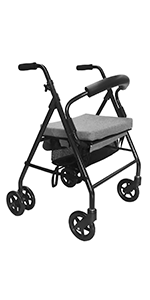 KMINA - Andadores ancianos plegable, Andadores adultos con asiento, Andadores ancianos 4 ruedas, Andadores ancianos frenos por presion, COMFORT Gris ...