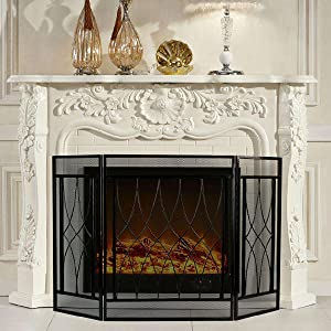 3 Panel Fireplace Screen Fire Place Doors, Wrought Iron Classic Fire Place Gate Screens, Rustic