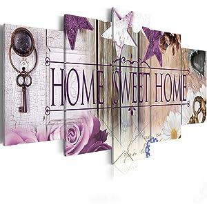 Home Sweet Home Love Wall Art Canvas Purple