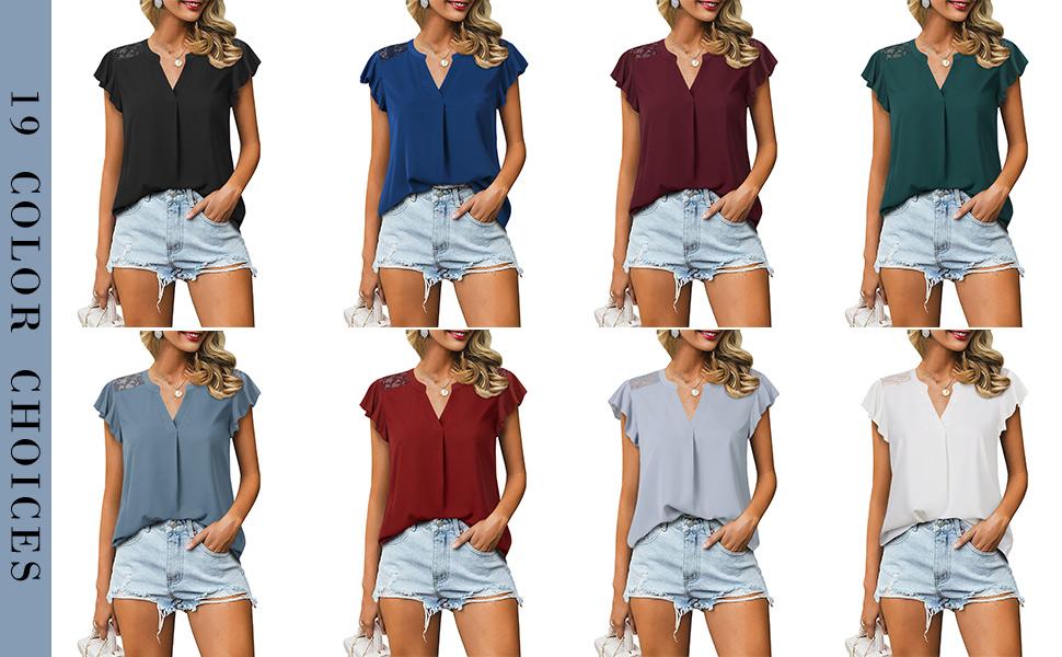 black grey blue white blouses chiffon v neck lace flutter sleeve summer top shirts