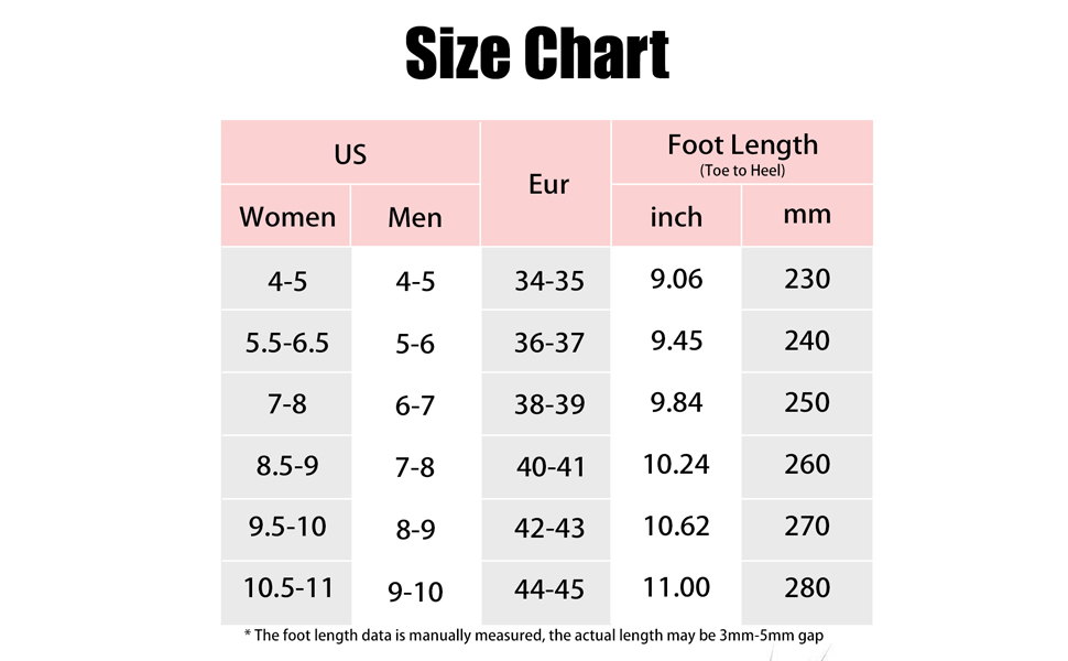 rosyclo Pillow Slides Slippers size chart