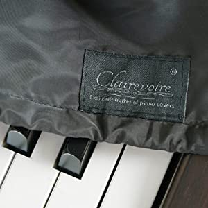 Clairevoire 2019 digital piano and keyboard cover close up in midnight black logo