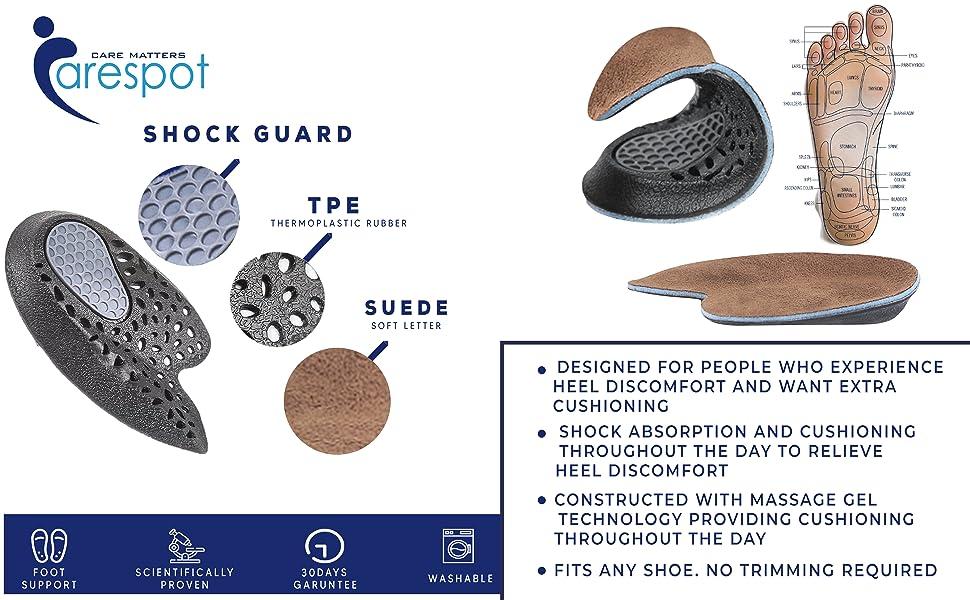 Carespot Heel cushion, Heel cups, Heel pain relief, arch support, leather heel support, bone spur