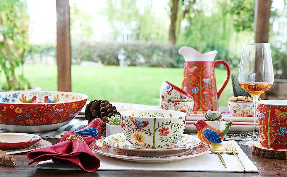 Red Spring Bird Dinnerware Collection