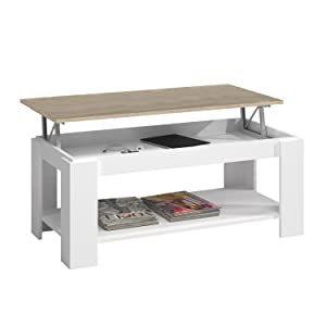 Habitdesign Mesa de Centro con revistero Incorporado, 102x50x43/54 cm (Blanco Artik - Roble Canadian): Amazon.es: Juguetes y juegos