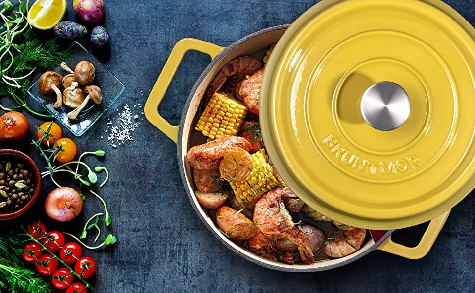 Enameled Cast Iron Covered Dutch Oven, Pot with Non-Stick Slow Cook Enamel Self-Basting Cookware,