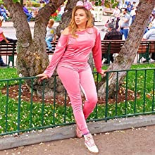 Women Off One Shoulder 2 Piece Casual Jogger Sweatsuit Velvet Tracksuit Sets