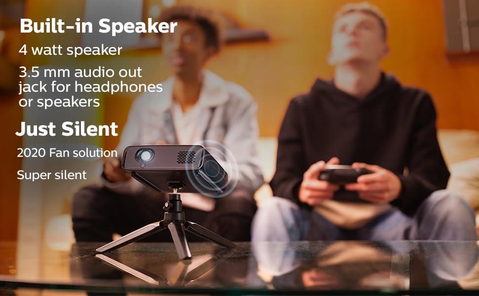 built in speaker 4 watt 3.5 mm audio out jack silent